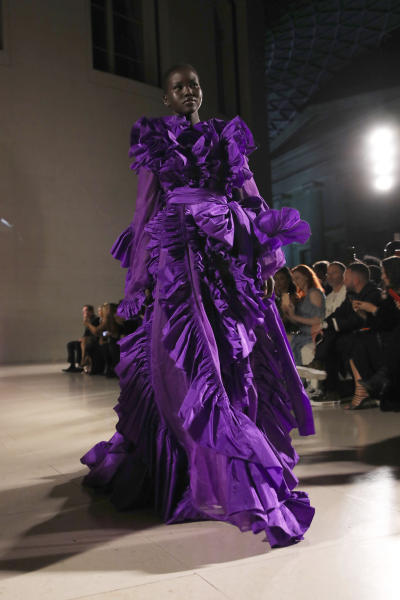 Model Alek Wek walks the runway at the Fashion For Relief charity event in central London, Saturday, Sept. 14, 2019. (Photo by Vianney Le Caer/Invision/AP)