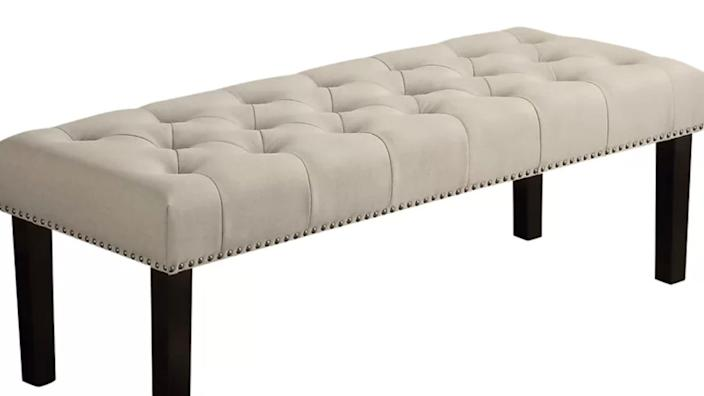 This studded, upholstered bench is everything.