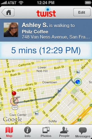Twist iPhone App Texts Friends When You're Running Late