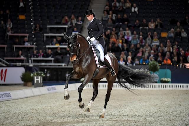 Equestrian - Sweden International Horse Show - Fei Grand Prix Dressage Qualification Event - Friends Arena, Stockholm, Sweden - December 2, 2017. Inessa Merkulova of Russia rides her horse Mister X. TT News Agency/Jessica Gow via REUTERS ATTENTION EDITORS - THIS IMAGE WAS PROVIDED BY A THIRD PARTY. SWEDEN OUT. NO COMMERCIAL OR EDITORIAL SALES IN SWEDEN
