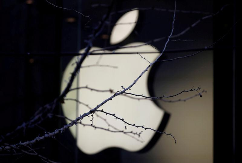 FILE PHOTO - An Apple company logo is seen behind tree branches outside an Apple store in Beijing, China December 14, 2018. REUTERS/Jason Lee/File Photo