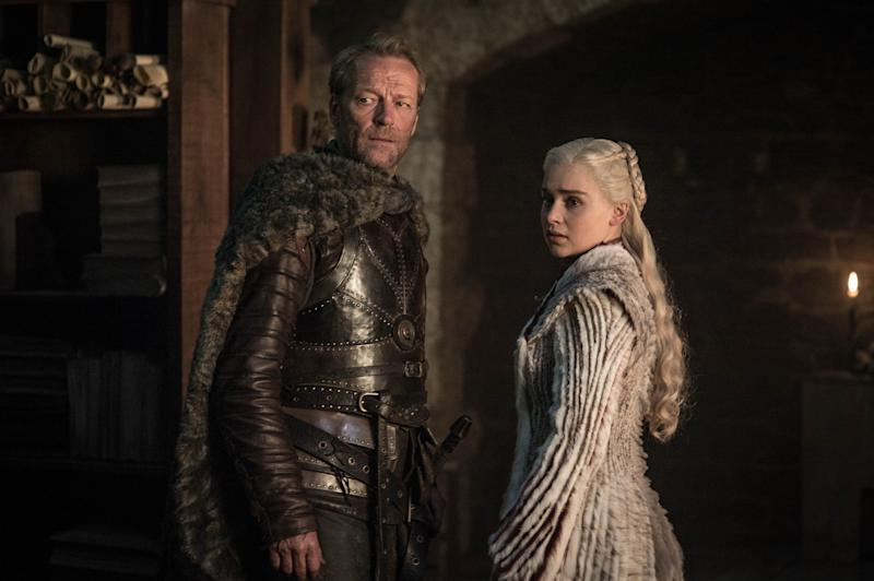 Loyal friend and protector Jorah Mormont with Khaleesi. (PHOTO: Helen Sloan/HBO)