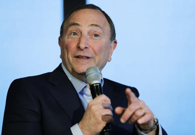 NHL Commissioner Gary Bettman speaks Wednesday, Jan. 9, 2019, during a news conference in Seattle. Bettman said the NHL has promised Seattle it will host the hockey All-Star Game within its first seven seasons. (AP Photo/Ted S. Warren)