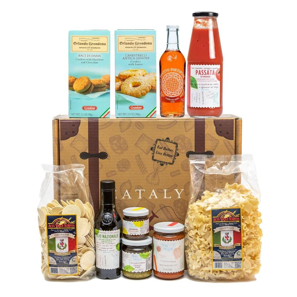 """It's rare to find a holiday gift basket in which everything included is actually amazing, but this happens to be one of those unicorns. The lemon jam, pesto sauce, and stamped pasta coins will transport her straight to the sunny coast of Liguria—no plane ticket required. $80, Eataly. <a href=""""https://www.eataly.com/us_en/gifts/gift-baskets-selection/when-in-portofino"""" rel=""""nofollow noopener"""" target=""""_blank"""" data-ylk=""""slk:Get it now!"""" class=""""link rapid-noclick-resp"""">Get it now!</a>"""