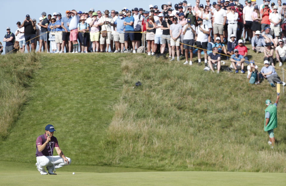 United States' Jordan Spieth lines up his putt on the 6th green during the third round of the British Open Golf Championship at Royal St George's golf course Sandwich, England, Saturday, July 17, 2021. (AP Photo/Peter Morrison)