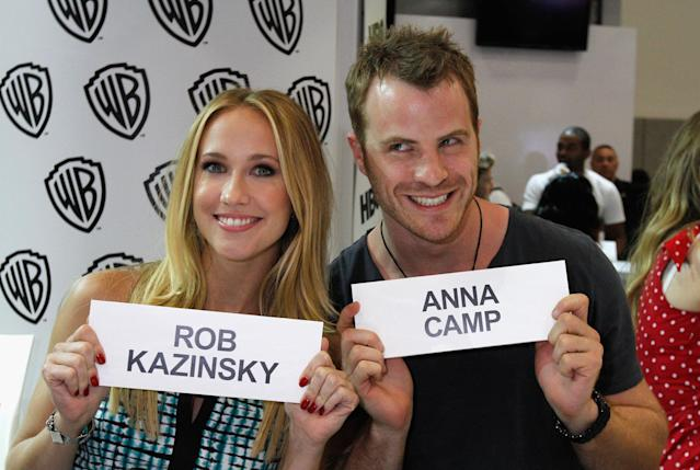 "Anna Camp and Rob Kazinsky attend HBO's ""True Blood"" Cast Autograph Signing at San Diego Convention Center on July 20, 2013 in San Diego, California."