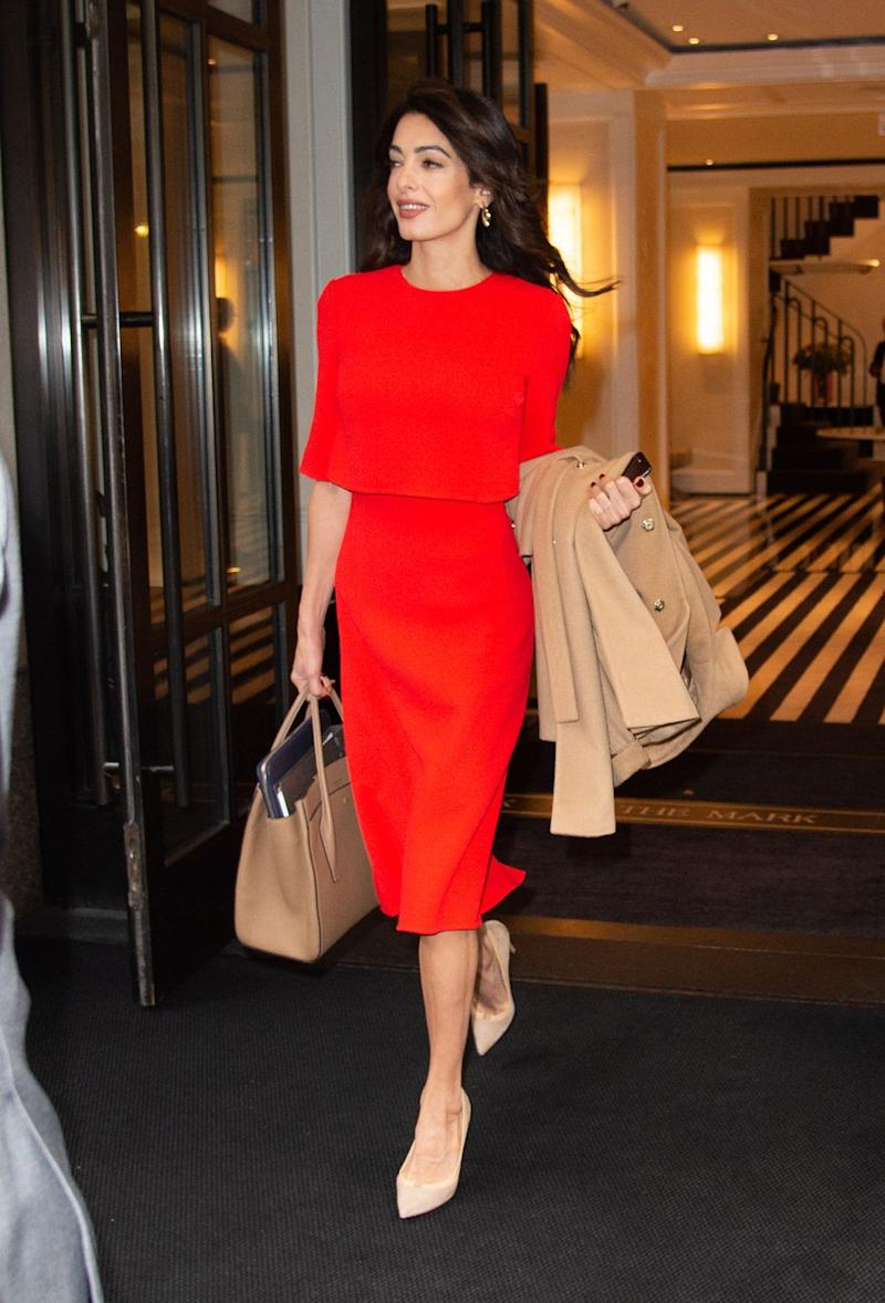 Amal Clooney Wore a Powerful Red Dress to the United Nations General Assembly forecast