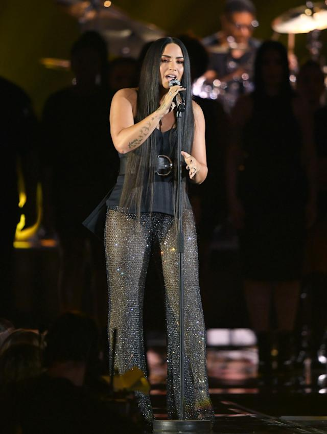 Lovato performing at the MTV EMAs.  (Karwai Tang via Getty Images)