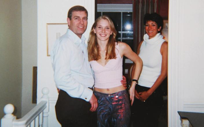 Virginia Roberts Giuffre, centre, claims she was trafficked from the US to London and forced to sleep with the Duke - CAPITAL PICTURES