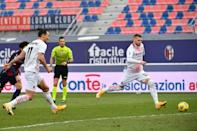 Rebic (R) scores the rebound after Ibrahimovic (L) missed a penalty
