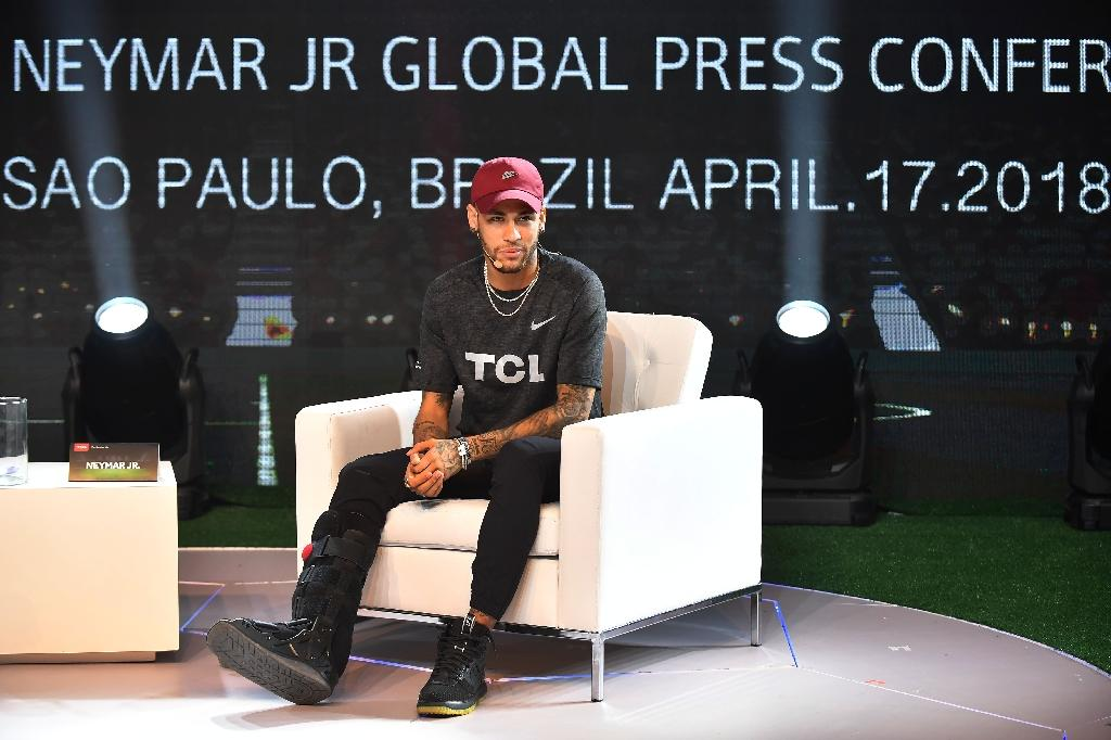 Neymar at a promotional event in Sao Paulo this week - the PSG star is still in his native Brazil as he recovers from a foot operation last month (AFP Photo/Nelson ALMEIDA)