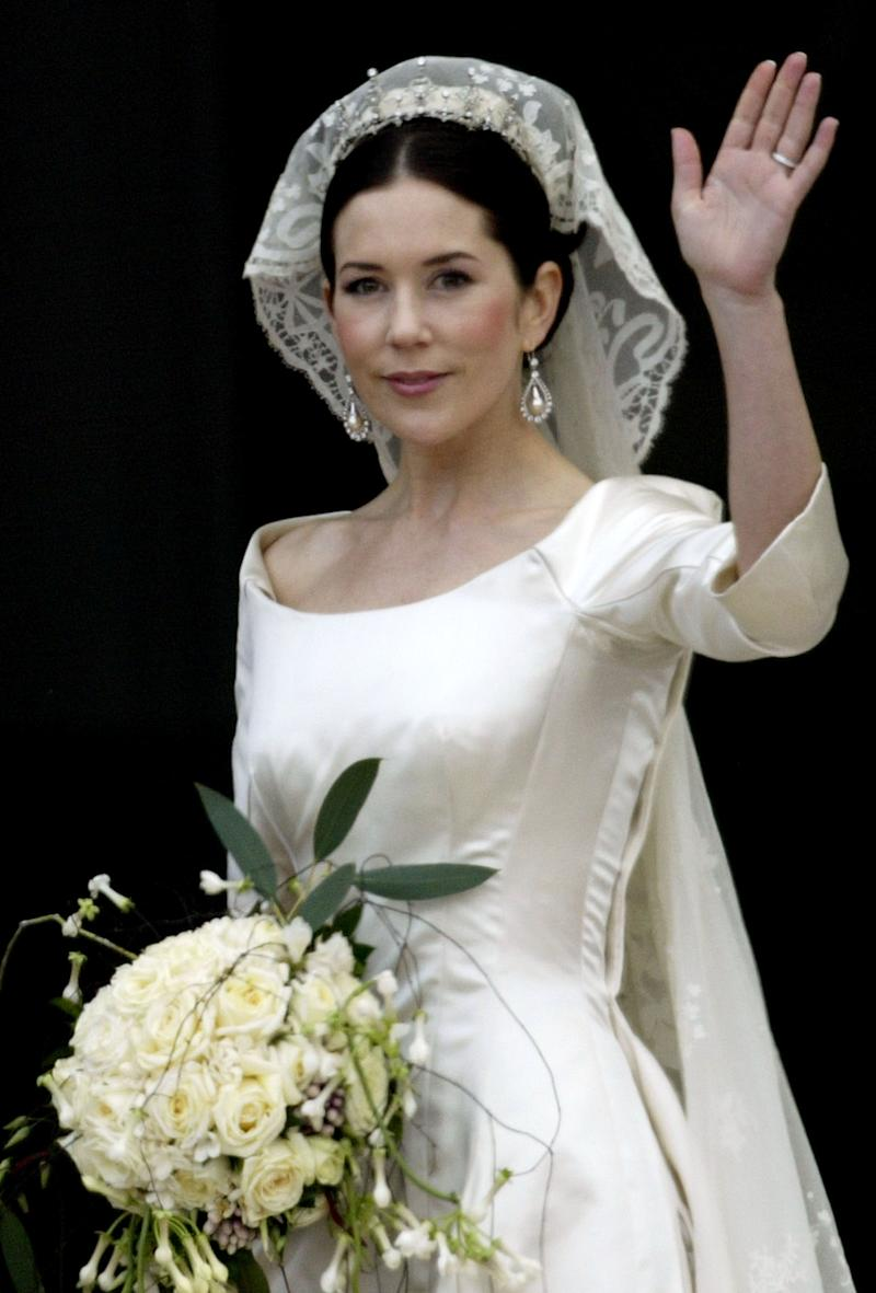 Crown Princess Mary arrives at Christian VII's Palace after her wedding to Crown Prince Frederik of Denmark May 14, 2004 in Copenhagen, Denmark. The romance began in 2000 when Mary Donaldson met the heir to one of Europe's oldest monarchies over drinks at the Sydney Olympics, where he was with the Danish sailing team.