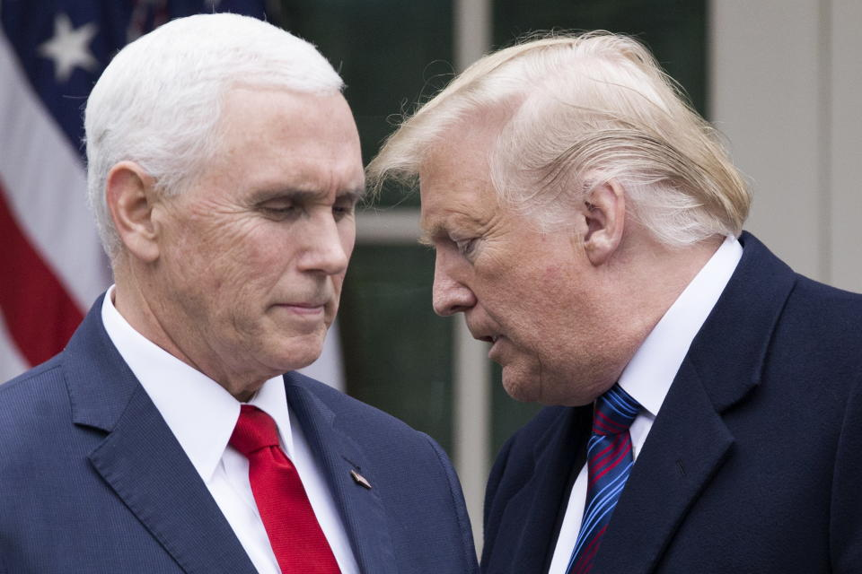 US President Donald J. Trump turns over the podium to US Vice President Mike Pence. Source:  AAP