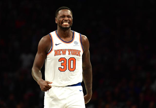 "The <a class=""link rapid-noclick-resp"" href=""/nba/teams/new-york/"" data-ylk=""slk:Knicks"">Knicks</a> invested $56.7 million in <a class=""link rapid-noclick-resp"" href=""/nba/players/5318/"" data-ylk=""slk:Julius Randle"">Julius Randle</a> this past summer. (Getty Images)"