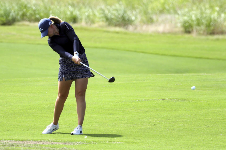 Matilda Castren hits off the second fairway during the third round of the LPGA Volunteers of America Classic golf tournament in The Colony, Texas, Saturday, July 3, 2021. (AP Photo/Richard W. Rodriguez)