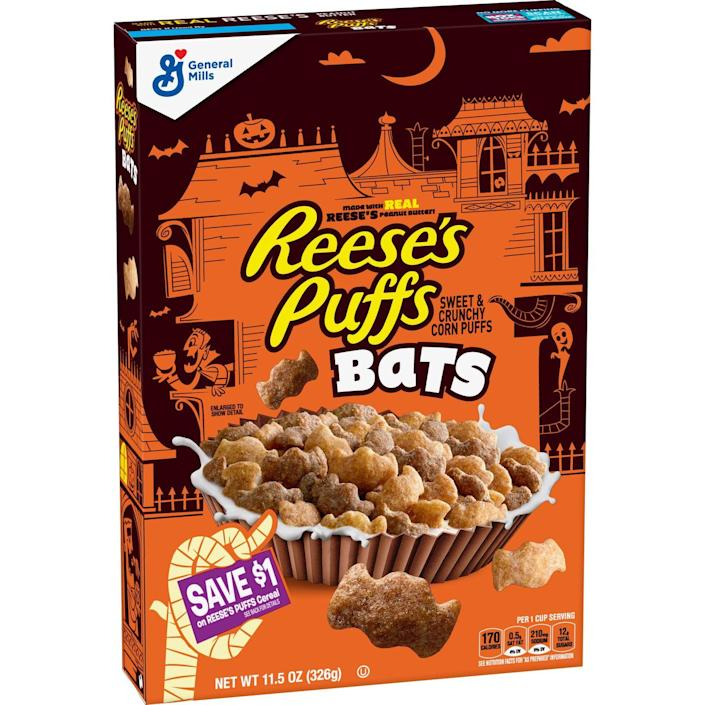<p>Why eat regular old Reese's Puffs when you can eat Reese's Puffs SHAPED LIKE BATS? These will be returning to shelves this year.</p>