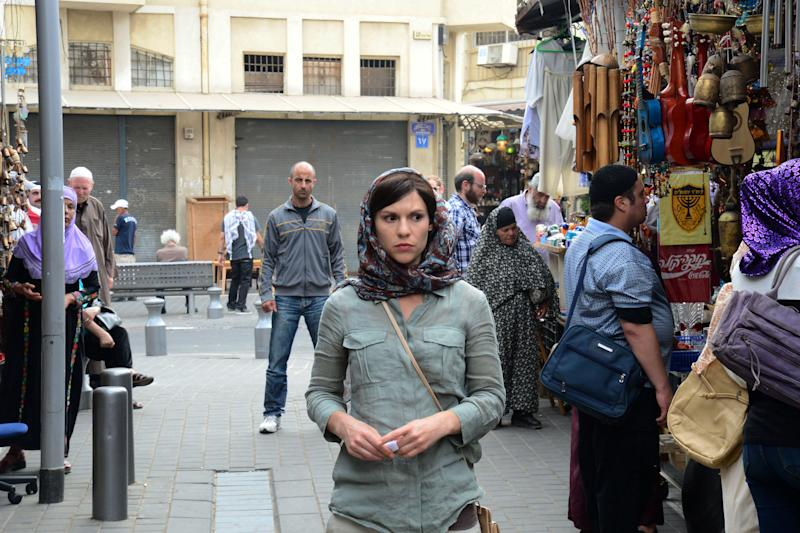 """This undated image released by Showtime shows actors Claire Danes as Carrie Mathison in a scene from the second season of """"Homeland,"""" filmed in Israel. The scene from a recent episode of the hit series """"Homeland,"""" is supposed to be Beirut - but it was shot in Tel Aviv, Israel. And that has some people irritated in both cities. (AP Photo/Showtime, Ronen Akerman)"""