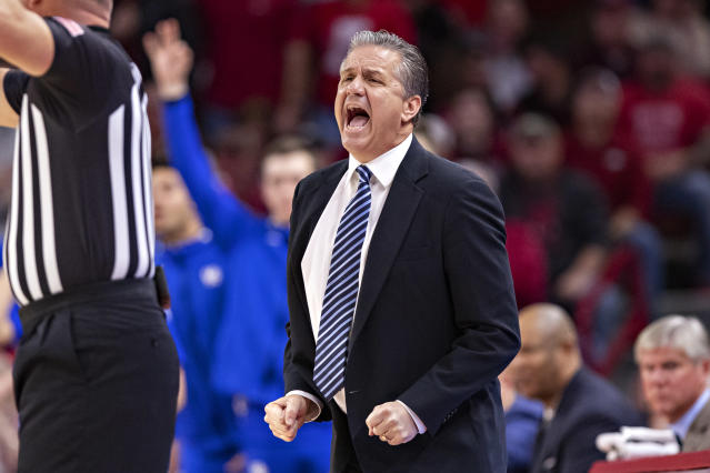 After erupting at the officials in the second half, John Calipari's wildcats just barely escaped Arkansas with a win. (Wesley Hitt/Getty Images)