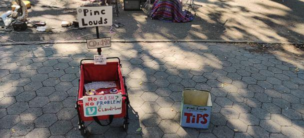PHOTO: The Pinc Louds plays for tips in the East Village's Tompkins Square Park. (ABC News)