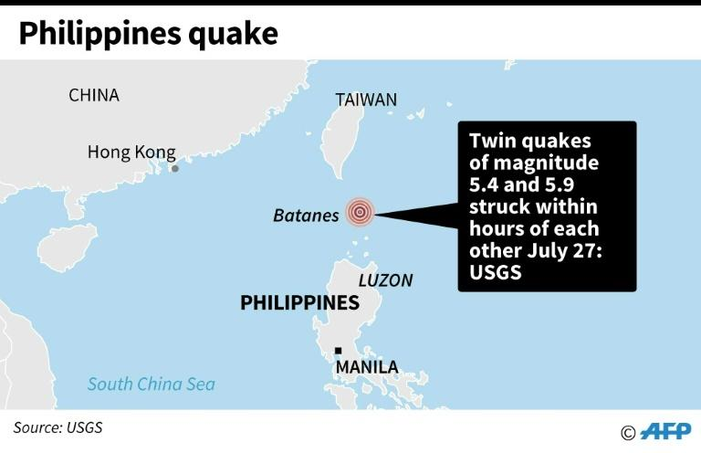Map locating twin earthquakes in the Philippines on Saturday (AFP Photo/)