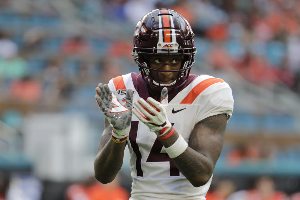 Virginia Tech wide receiver Damon Hazelton (14) reacts during the second half of an NCAA college football game against Miami, Saturday, Oct. 5, 2019, in Miami Gardens, Fla. Hazelton is coming to Missouri as a graduate transfer after catching eight touchdown passes each of the last two seasons at Virginia Tech. (AP Photo/Lynne Sladky, File)