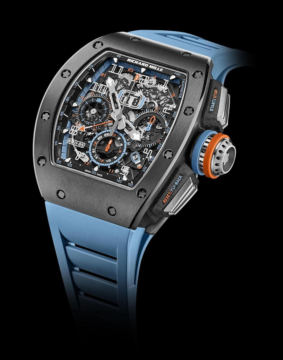 """<p>RM 11-05 </p><p><a class=""""link rapid-noclick-resp"""" href=""""https://www.richardmille.com/"""" rel=""""nofollow noopener"""" target=""""_blank"""" data-ylk=""""slk:SHOP"""">SHOP</a></p><p>Built from a new material that combines """"the lightness of titanium"""" with """"the hardness of diamond"""" and looking like something from the distant future, this could only be a Richard Mille watch. The latest in a series of ludicrously high-end chronographs that began with the RM 011 in 2007, the RM 11-05 is topped off with a flyback function, a GMT indicator and an annual calendar. Richard Mille likes to describe his watches as """"a racing machine on the wrist"""" and while watch/car comparisons are ten-a-penny, it's hard to disagree: with their sporty looks and bleeding-edge design and materials, Richard Mille's inventions are truly the supercars of the watch world. Fittingly, this costs the same as a Ferrari Portofino. </p><p>£170,000; <a href=""""https://www.richardmille.com/"""" rel=""""nofollow noopener"""" target=""""_blank"""" data-ylk=""""slk:richardmille.com"""" class=""""link rapid-noclick-resp"""">richardmille.com</a></p>"""