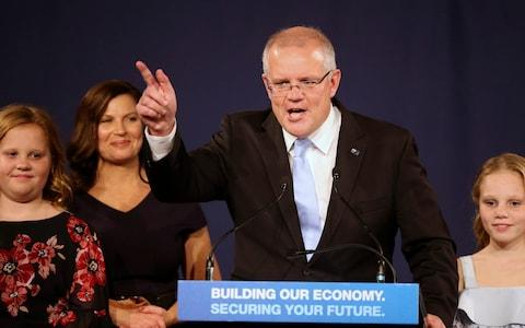 Scott Morrison thanked Queensland for its support - Credit: AP Photo/Rick Rycroft