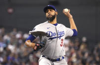 Los Angeles Dodgers pitcher David Price (33) throws against the Arizona Diamondbacks in the sixth inning during a baseball game, Sunday, June 20, 2021, in Phoenix. (AP Photo/Rick Scuteri)