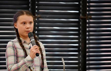 Swedish environmental activist Greta Thunberg gives a speech at the House of Commons as a guest of Caroline Lucas, in London, Britain April 23, 2019. REUTERS/Toby Melville