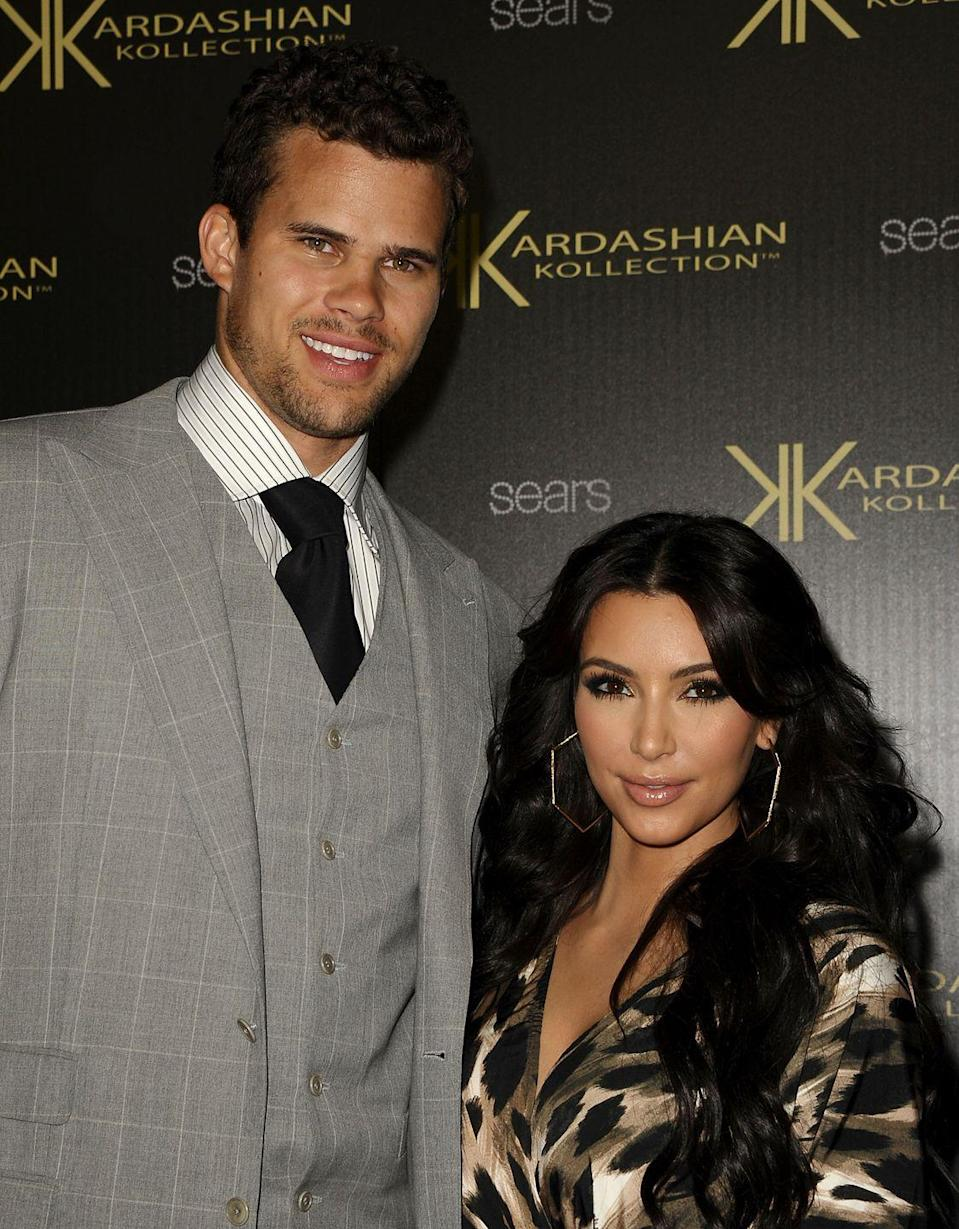 "<p>After six months of dating, the reality TV star married NBA player Kris Humphries in <a href=""https://www.hollywoodreporter.com/news/kris-jenner-tried-get-kim-kardashian-cancel-wedding-kris-humphries-night-before-1030087#:~:text=Kim%20Kardashian%20married%20pro%20basketball,wedding%20extravaganza%20in%20August%202011."" rel=""nofollow noopener"" target=""_blank"" data-ylk=""slk:a $10 million wedding"" class=""link rapid-noclick-resp"">a $10 million wedding</a> that would later air as a two-part special on <em> Keeping Up With the Kardashians</em>. You know how the story ends: The couple split after 72 days of marriage. </p>"