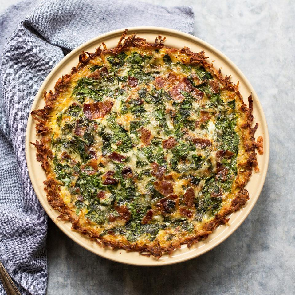 <p>A spinach and bacon quiche gets a fun twist with the addition of hash browns. Shredded potatoes create a gluten-free crust for this healthy quiche that's sure to be a crowd-pleasing breakfast or brunch.</p>