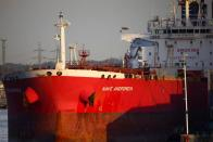 Liberia-flagged oil tanker Nave Andromeda is seen at Southampton Docks