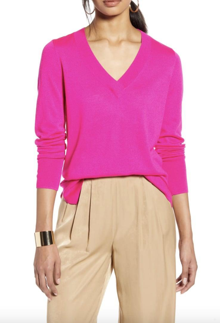 <p>If hot pink is your color, then this <span>Halogen V-Neck Merino Wool Blend Sweater</span> ($35, originally $59) was made for you.</p>