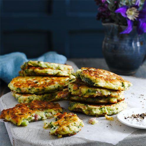 """<p>These courgette fritters are amazing served with a poached egg on top.</p><p><strong>Recipe: <a href=""""https://www.goodhousekeeping.com/uk/food/recipes/courgette-and-bacon-fritters"""" rel=""""nofollow noopener"""" target=""""_blank"""" data-ylk=""""slk:Courgette and bacon fritters"""" class=""""link rapid-noclick-resp"""">Courgette and bacon fritters</a></strong></p>"""