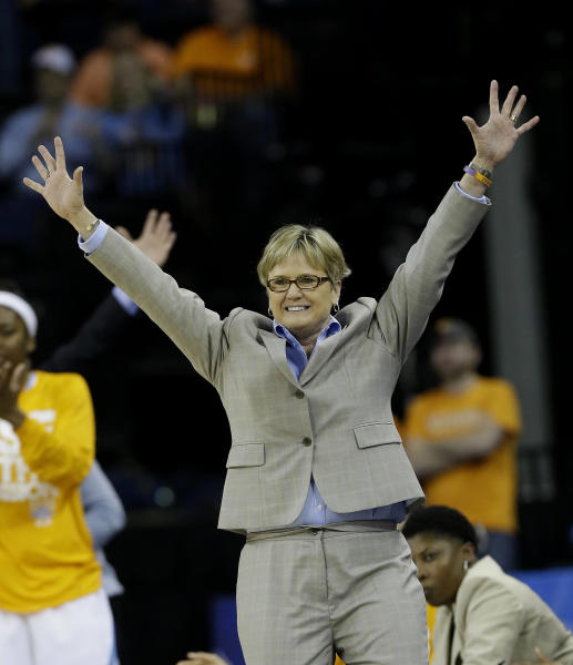 Tennessee head coach Holly Warlick reacts during the second half of their NCAA college basketball game against Florida in the Southeastern Conference tournament, Friday, March 8, 2013, in Duluth, Ga. Tennessee won 82-73. (AP Photo/John Bazemore)