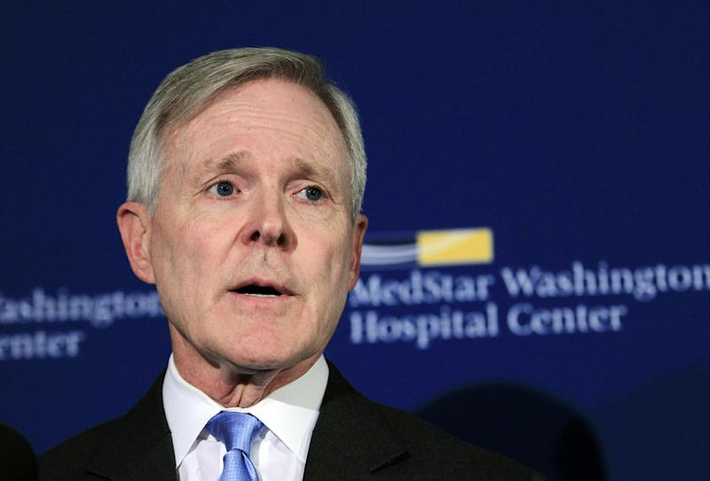 Secretary of the Navy Ray Mabus speaks during a news conference at Washington Hospital Center, in Washington, on Monday, Sept. 16, 2013, after visiting the people injured in the shooting at the Washington Navy Yard. At least one gunman launched an attack inside the Washington Navy Yard, spraying gunfire on office workers in the cafeteria and in the hallways at the heavily secured military installation in the heart of the nation's capital, authorities said. (AP Photo/Jose Luis Magana)
