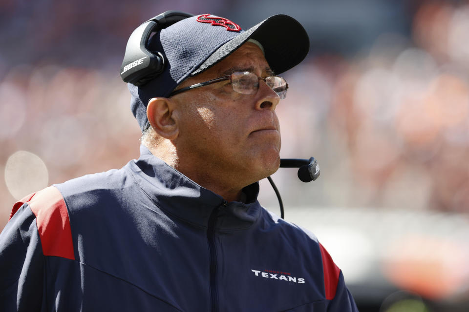 Houston Texans head coach David Culley on the sideline against the Cleveland Browns in the first half an NFL football game in Cleveland, Sunday, Sept. 19, 2021, (AP Photo/Rick Osentoski)