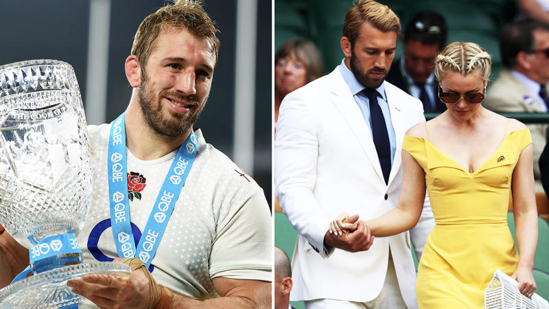 Chris Robshaw and wife Camilla Kerslake, pictured here at Wimbledon in 2015.