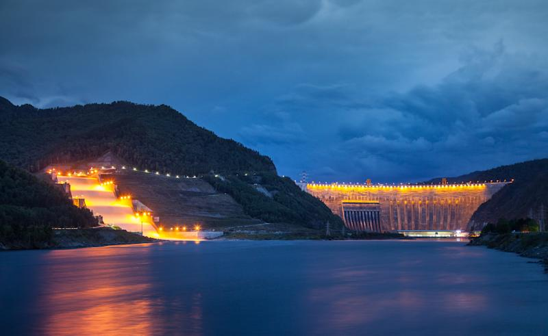 Sayano Shushenskaya hydropower station at dusk