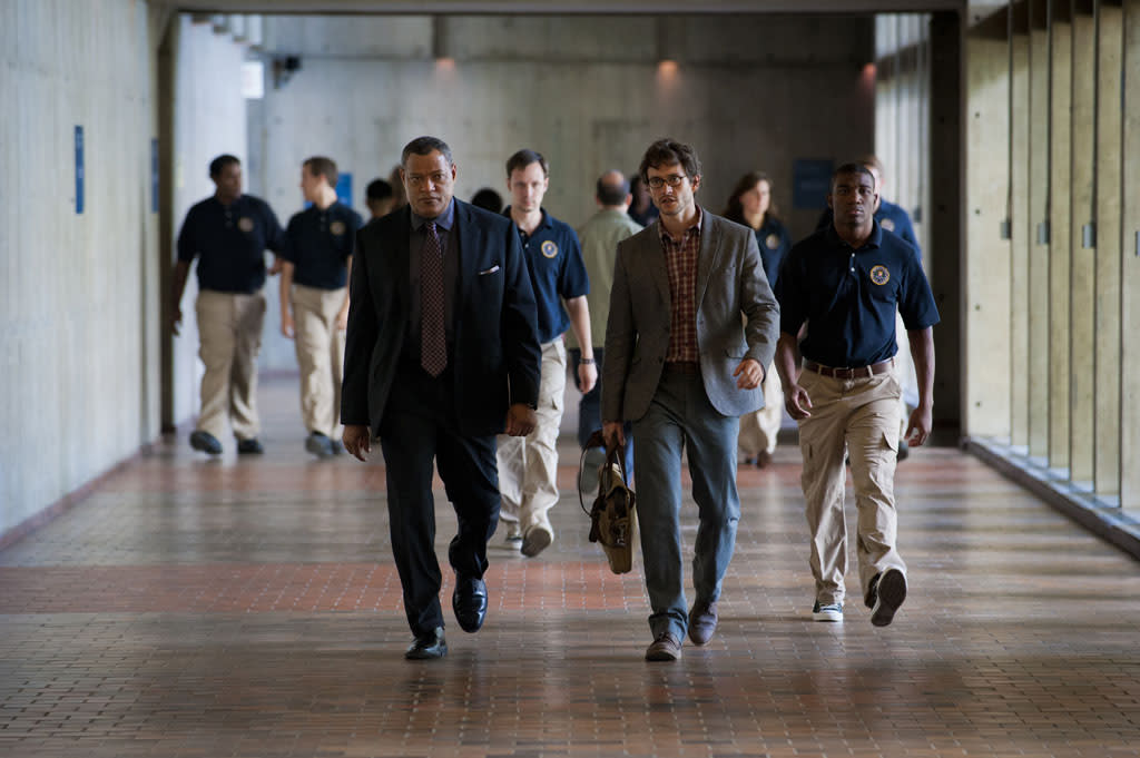 "<p>Laurence Fishburne (left), who just finished a three-season stint on ""CSI,"" returns to TV as Graham's boss, FBI special agent Jack Crawford. Here, Graham and Crawford walk with purpose down the halls of a federal building.</p>"