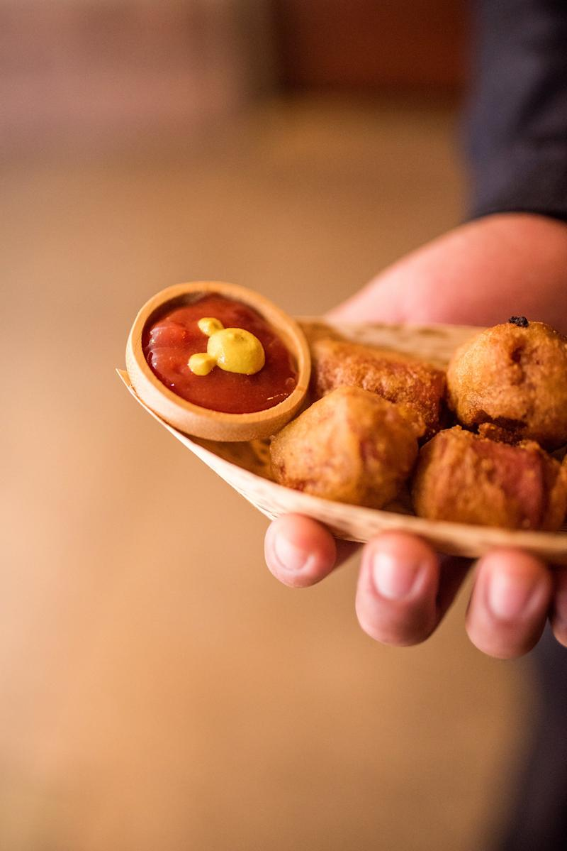Mini corndog bites with Mickey condiments! (White Rabbit Photo Boutique)