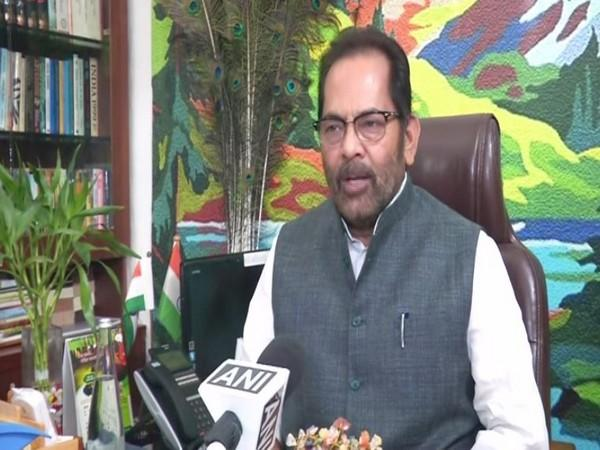 Union Minority Affairs Minister Mukhtar Abbas Naqvi while speaking to ANI on Monday. (Photo/ANI)