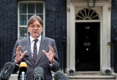 FILE PHOTO: Guy Verhofstadt, the European Union's chief Brexit negotiator, speaks outside 10 Downing Street in London