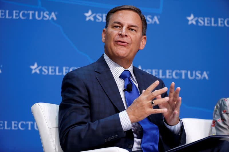 FILE PHOTO: Jay Timmons, President and CEO, National Association of Manufacturers, speaks at 2017 SelectUSA Investment Summit in Oxon Hill, Maryland