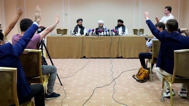 PHOTO: Members of political delegation from the Afghan Taliban's movement Dr, Mohammad Naim, left, Mawlawi Shahabuddin Dilawar, center, and Suhil Shaheen attend a news conference in Moscow, Russia, Friday, July 9, 2021. (AP Photo/Alexander Zemlianichenko) (Alexander Zemlianichenko/AP)
