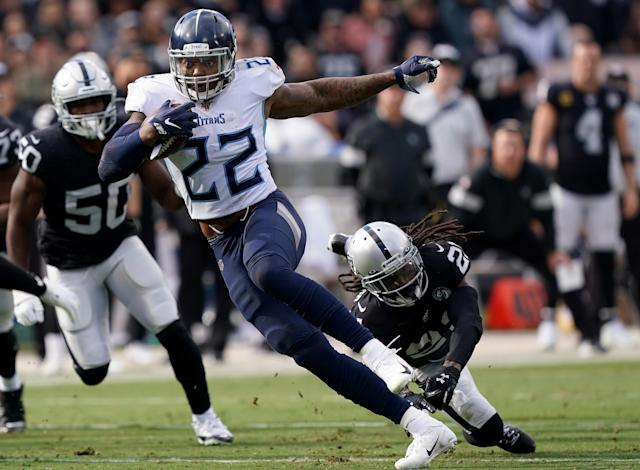 Derrick Henry won't play against the Saints on Sunday due to a nagging hamstring injury. (Photo by Thearon W. Henderson/Getty Images)