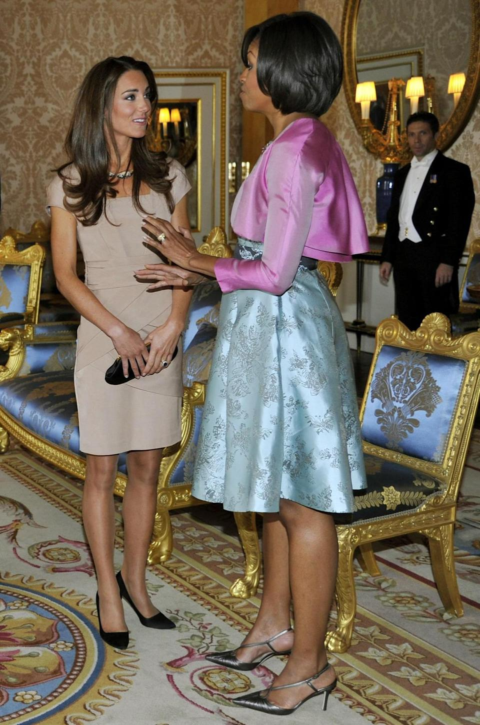 <p>Kate again wore Reiss for a meeting with Barack and Michelle Obama. Wearing a camel dress, she finished the look with a silk Anya Hindmarch clutch and black L.K. Bennett heels. </p><p><i>[Photo: PA]</i></p>