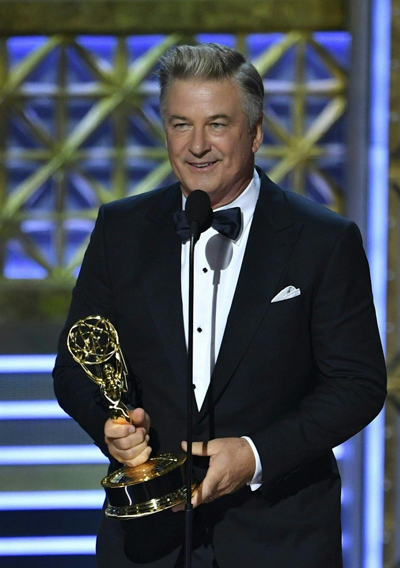 "Alec Baldwin accepts the award for Outstanding Supporting Actor in a Comedy Series for ""Saturday Night Live"" onstage during the 69th Emmy Awards at the Microsoft Theatre on Sept. 17, 2017 in Los Angeles, California."