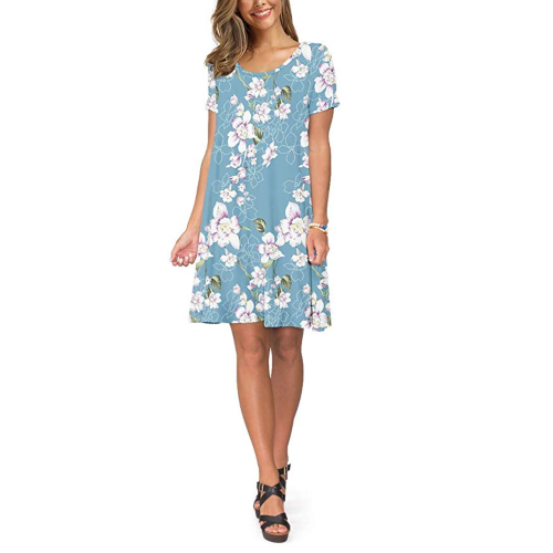 KORSIS Women's Casual T-Shirt Dresses Short Sleeve Swing Dress. (Photo: Amazon)