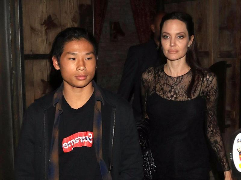 Angelina and Pax Jolie-Pitt in LA, May 2017. Source: Getty